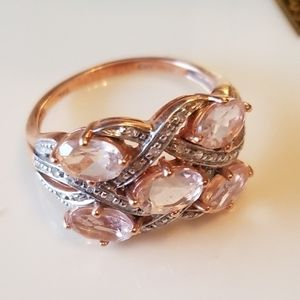 CORA DE ROSA MORGANITE & DIAMOND ROSE GOLD RING